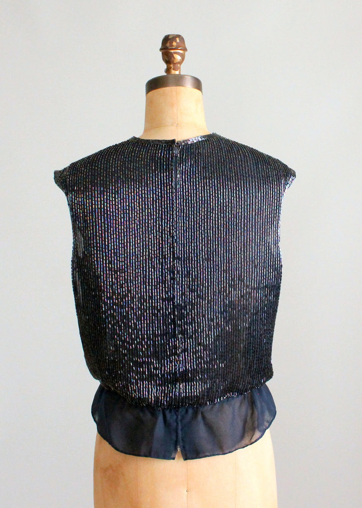 Vintage 1950s Peacock Beaded Chiffon Top