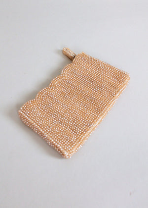 Vintage 1950s Pearl Beaded Evening Clutch Purse