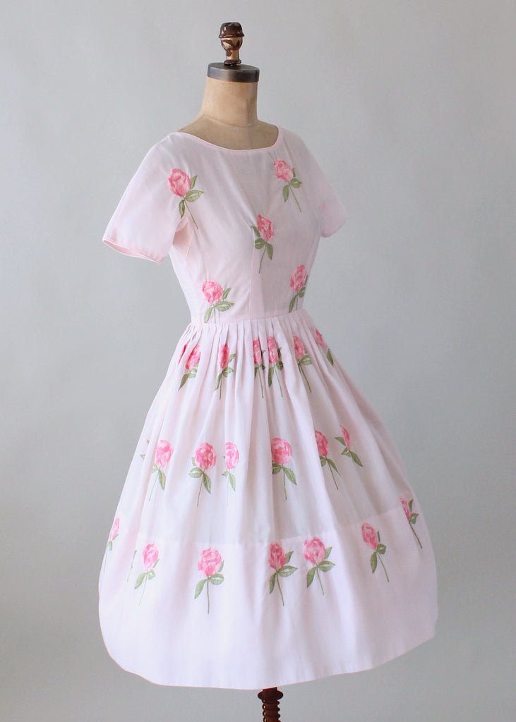 Vintage 1960s Embroidered Roses Pink Cotton Dress