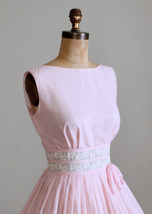 Vintage Early 1960s Flower Waist Pink Day Dress