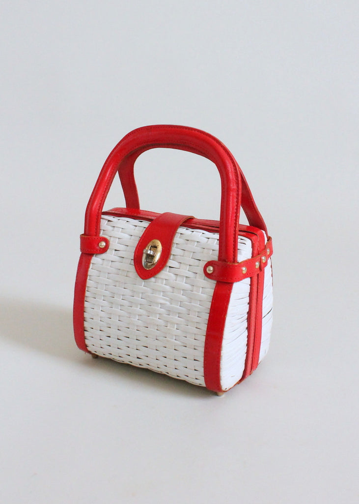 Vintage 1960s Red and White Wicker Purse