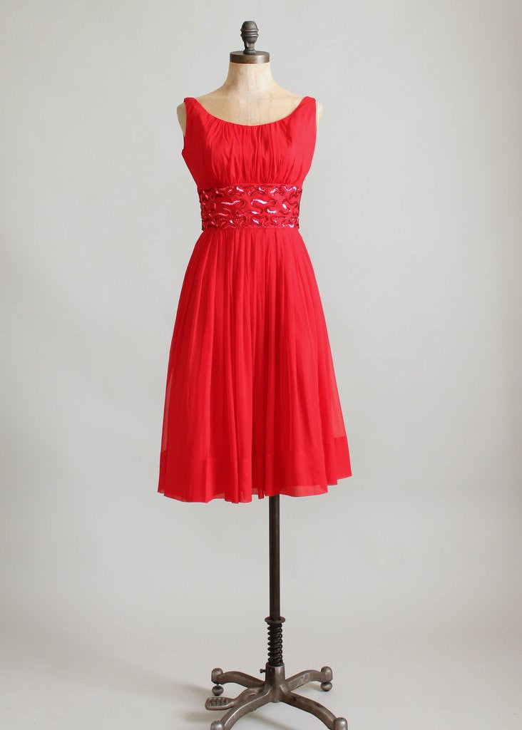 Vintage 1960s Red Chiffon and Sequins Party Dress