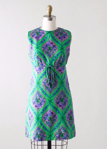Vintage 1960s Silk Print MOD Mini Dress
