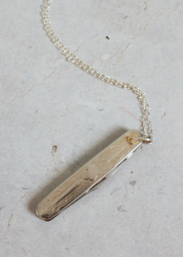 Vintage 1960s Silver Pocket Knife Pendant Necklace
