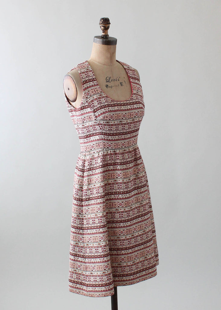 Vintage 1960s Pink and Gold Lamé Stripe Dress