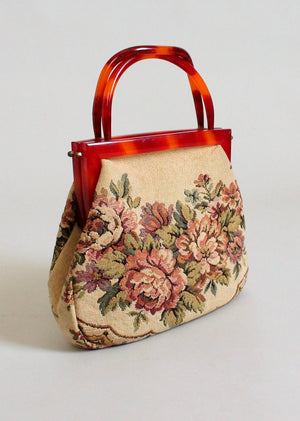 Vintage 1950s Tapestry Purse with Lucite Handles