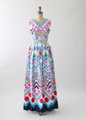 Vintage 1960s Bright Dots Cotton Maxi Dress