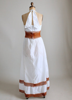 Vintage 1960s White Cotton and Crochet Halter Maxi Dress