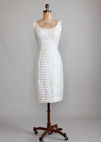 Vintage 1960s White Sequined Bombshell Party Dress
