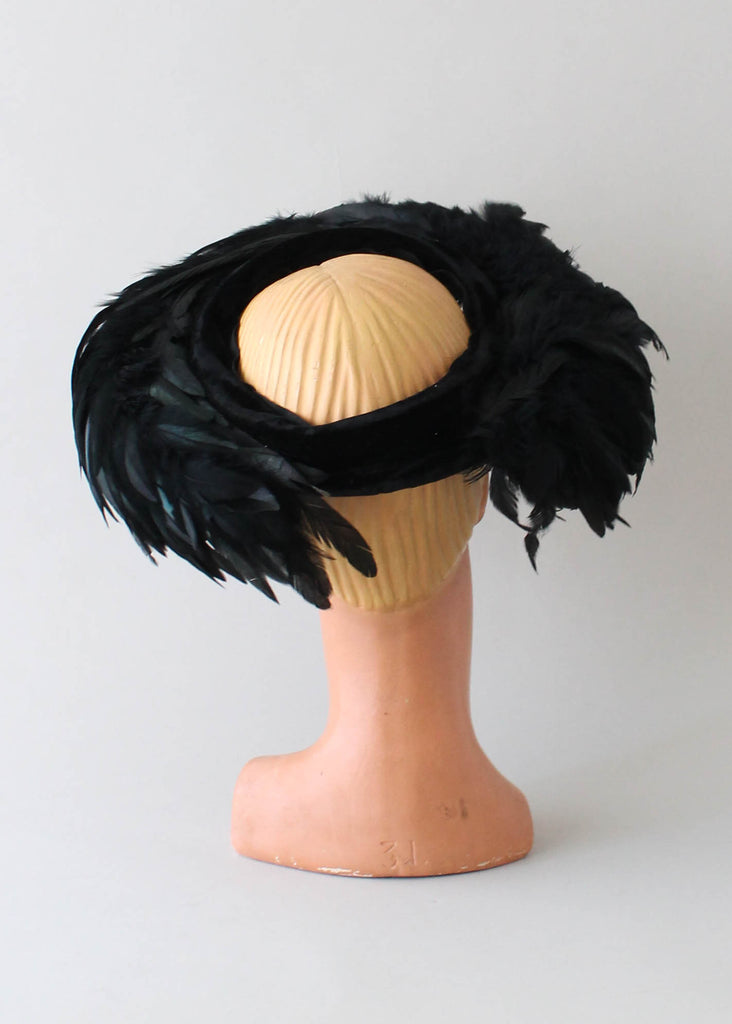 Vintage 1960s Wide Brim Feather Hat