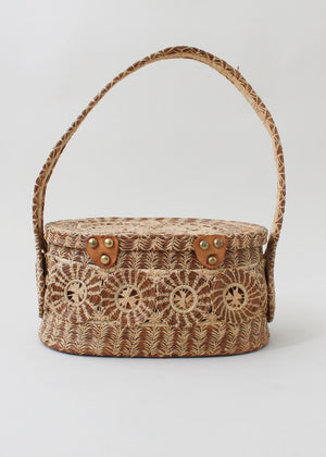 Vintage 1960s Woven Straw Basket Purse