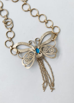 Vintage 1960s Butterfly Chain Belt or Necklace