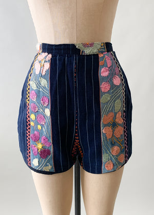 Vintage 1960s Mexican Embroidered Cotton Shorts