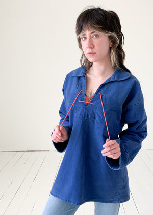 Vintage 1960s Indigo Cotton Lace Up Top