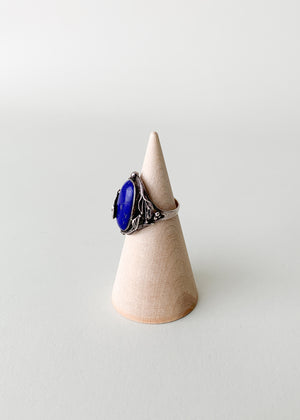 Vintage 1960s Sterling and Lapis Ring