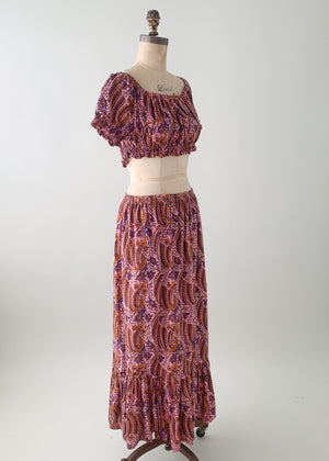 Vintage Late 1970s Indian Cotton 2 Piece Dress - Purple