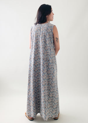 Vintage 1970s Indian Block Print Cotton Dress