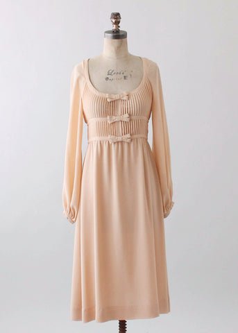 Vintage 1970s Albert Nipon Nude Silk Dress
