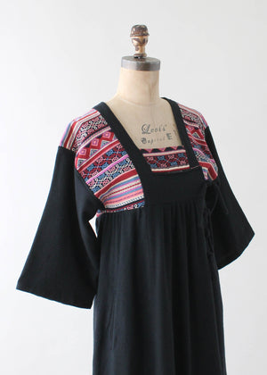Vintage 1970s Asian Style Wool Blend Dress