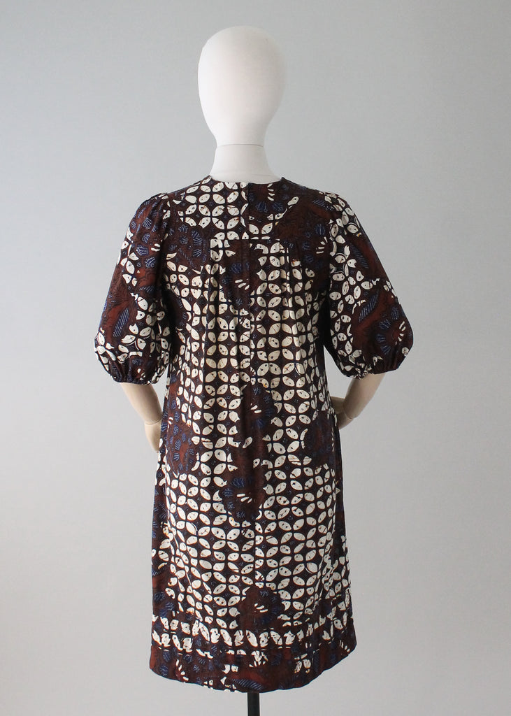 Vintage 1970s Batik Cotton Dress