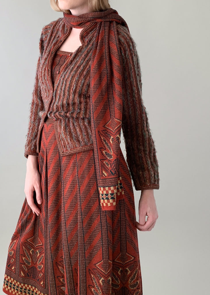 Vintage 1970s Bill Gibb Knit Dress Set