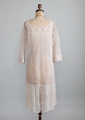 Vintage 1970s Crochet Bell Sleeve Dress