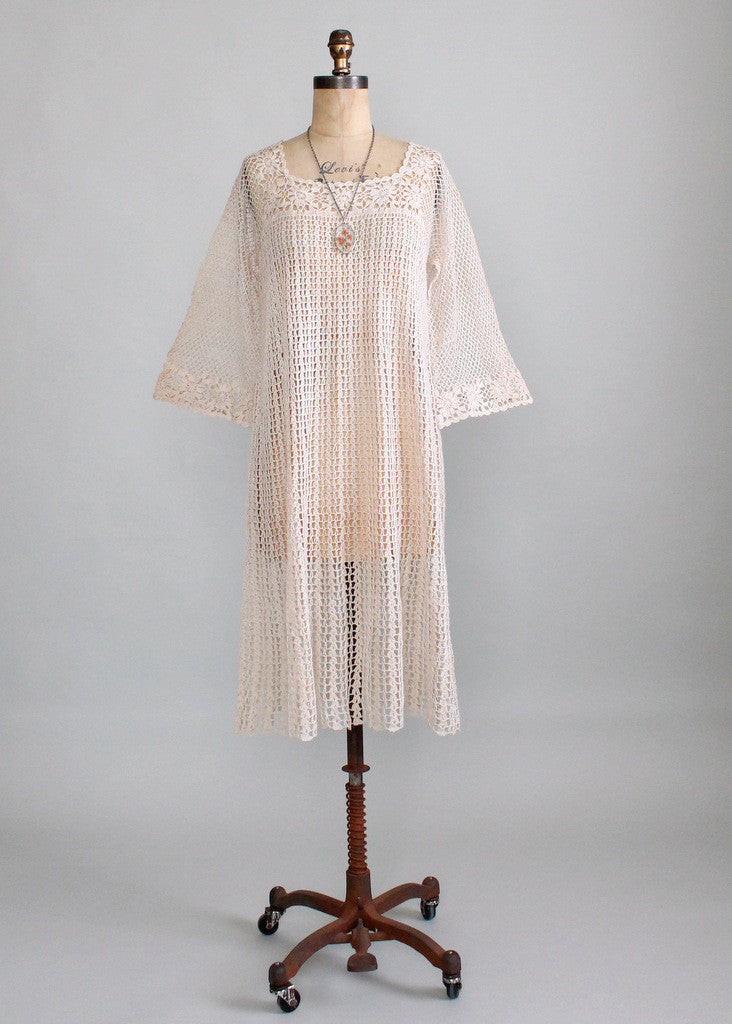 Vintage 1970s Crochet Bell Sleeve Dress Raleigh Vintage