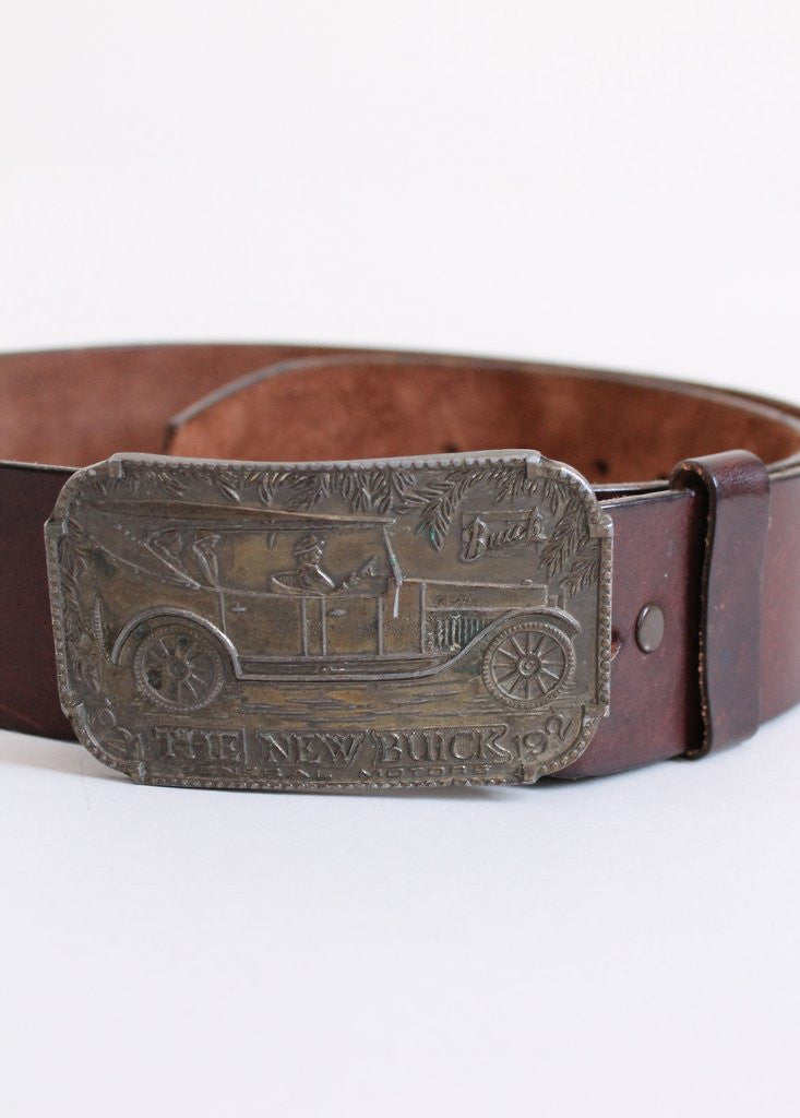 Vintage 1970s Buick Brass Buckle and Brown Leather Belt