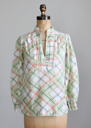 Vintage 1970s Plaid Cotton Tunic Shirt