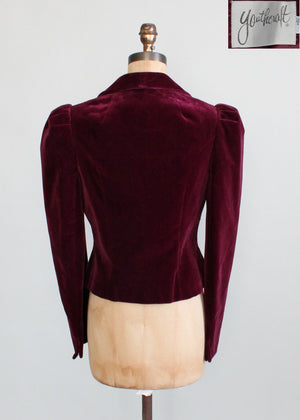 Vintage 1970s Cranberry Velvet Youthcraft Jacket