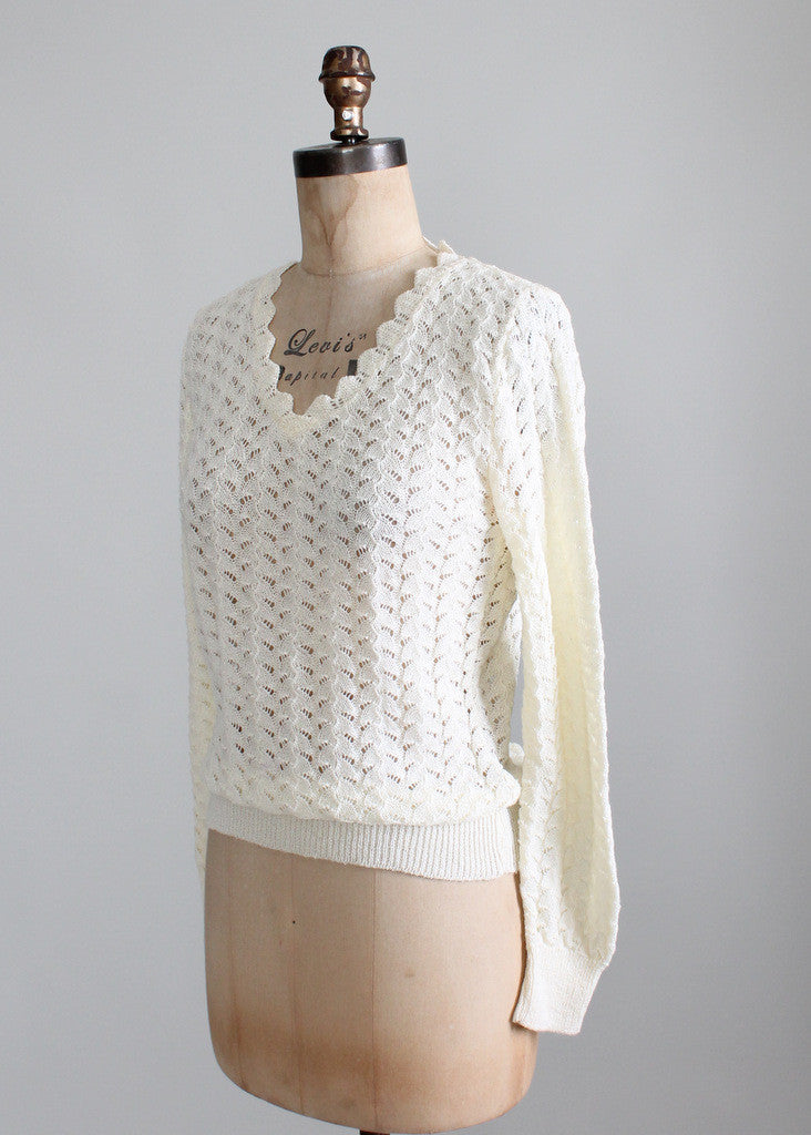 Vintage 1970s Cream Pointelle Summer Sweater