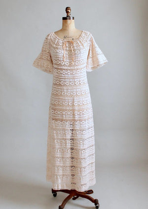 Vintage 1970s Crocheted Caftan Maxi Dress