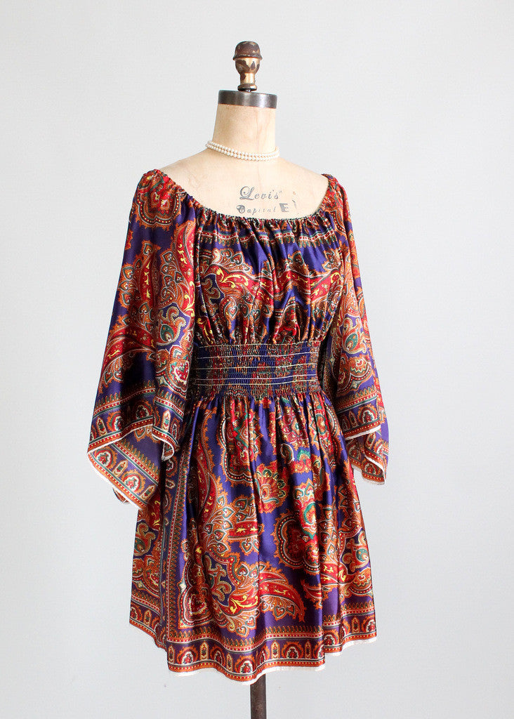 Vintage 1970s David Edden Butterfly Sleeve Mini Dress