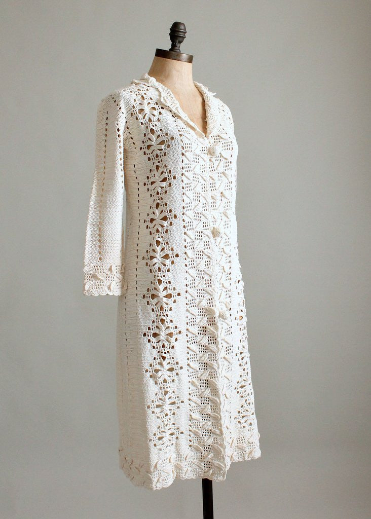 Vintage 1970s Crochet Duster Jacket