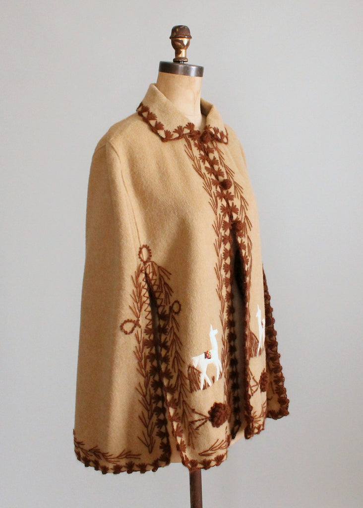 Vintage 1970s Embroidered Wool Cape with Llamas