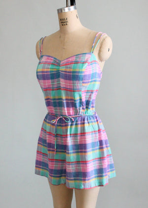 Vintage 1970s Madras Plaid Gabar Playsuit