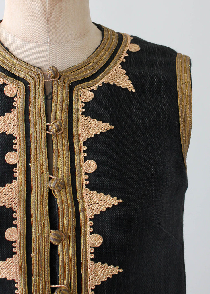 Vintage 1970s Greek Caftan with Metallic Trim