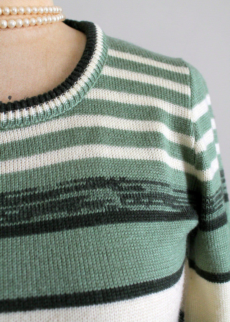 Vintage 1970s College Town Green Striped Sweater