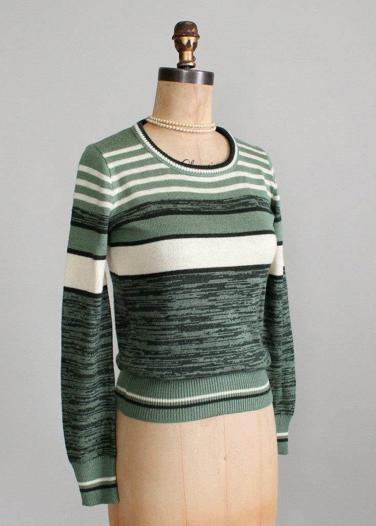 Vintage 1970s College Town Green Striped Sweater Raleigh