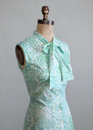 Vintage 1970s Green Drops Summer Work Dress