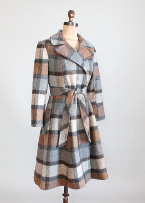 Vintage 1970s Grey and Brown Plaid Princess Coat