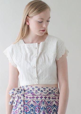 Anitque Edwardian Cotton Crop Top