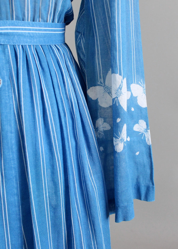 Vintage Early 1970s Hanae Mori Butterfly Maxi Dress