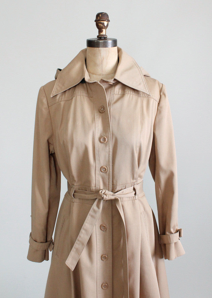 Vintage 1970s Classic Trench Coat with Detachable Hood