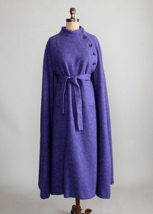 Vintage 1970s Hourihan Irish Purple Wool Long Cape