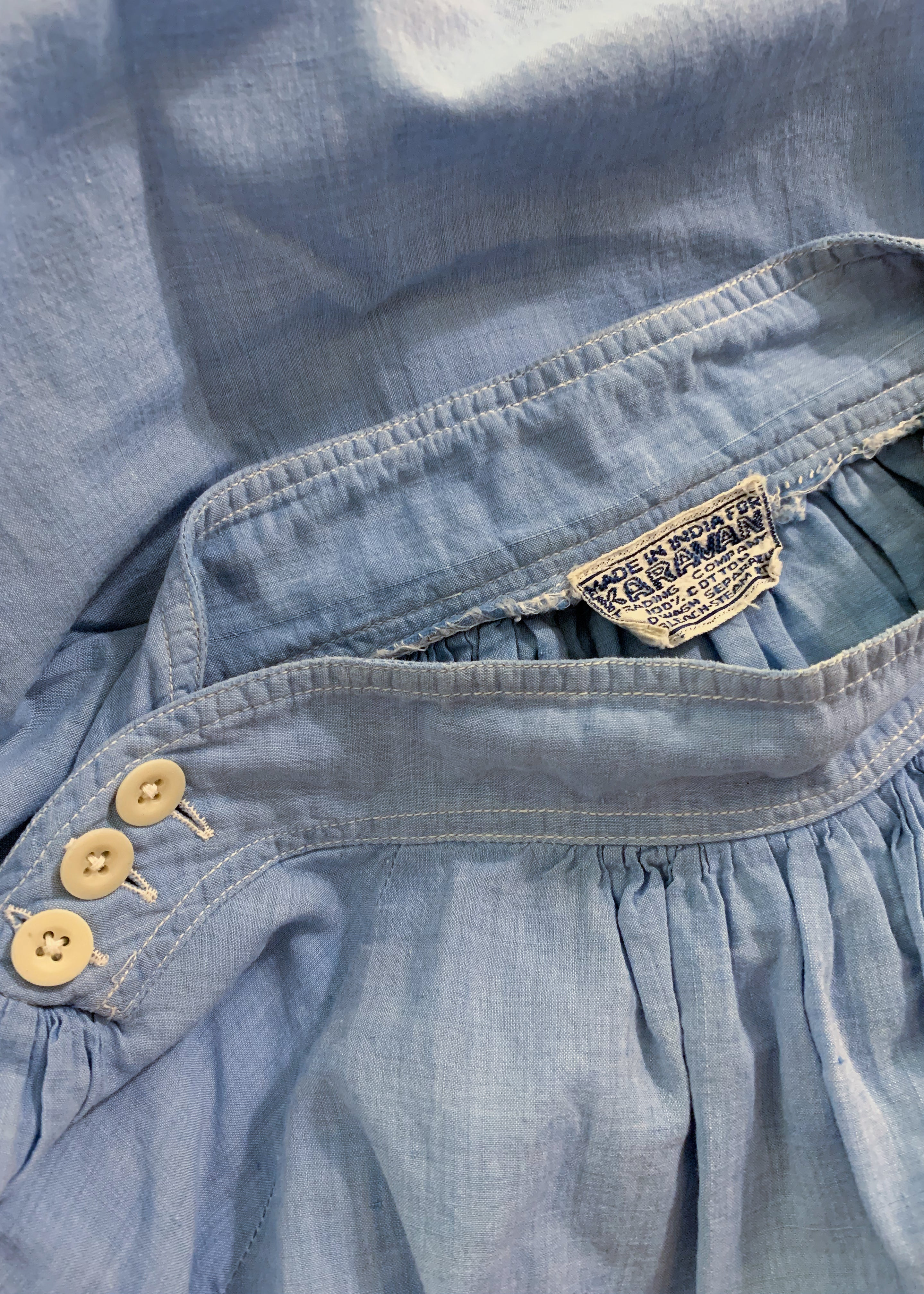 Vintage 1970s Indian Chambray Tent Dress