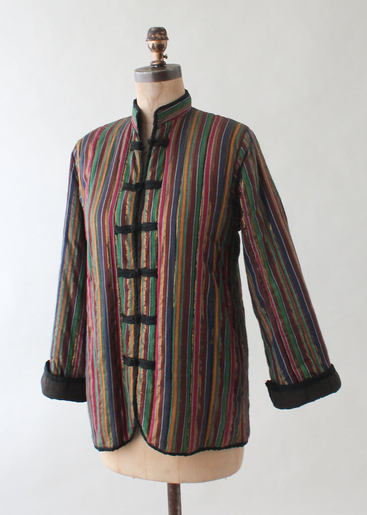Vintage 1970s Striped Indian Cotton Jacket