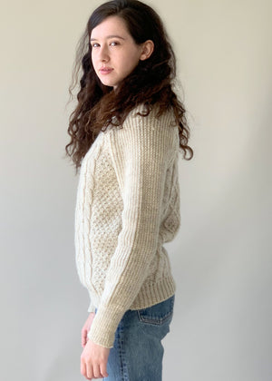 Vintage 1970s British Wool Fisherman Sweater