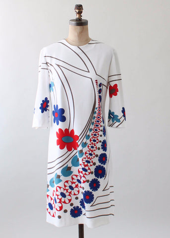 Vintage 1960s Italian MOD Print Poly Day Dress