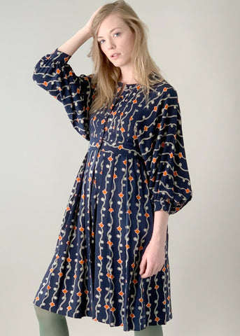 Vintage 1970s Jean Muir Silk Print Dress